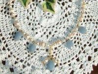 画像1: イヤリング something blue (淡水パール、エンジェライト)天然石ビーズアクセサリー