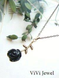 画像3: 黒バラの一粒ネックレス★オニキスのローズカット 天然石アクセサリー