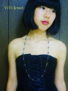 画像1: AA大粒ブルーグレイ淡水パールロングネックレス☆天然石ジュエリー (1)