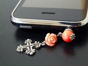 画像1: ピンクのサンゴのスマホピアス  (1)