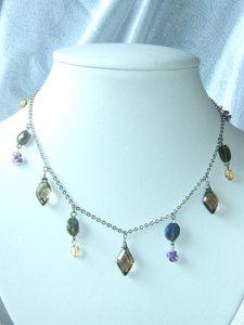 画像1: Oriental necklace (スモーキークオーツ、ラブラドライト、シトリン、アメジスト) (1)
