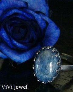 画像1: AA大粒カイヤナイトのリング 天然石ジュエリー・アクセサリー (1)