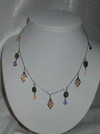 画像1: Oriental necklace (スモーキークオーツ、ラブラドライト、シトリン、アメジスト)