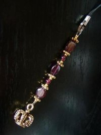 画像2: AAガーネットの携帯ストラップ☆金色の王冠 天然石アクセサリー