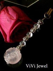 画像1: 薔薇のローズクオーツ携帯ストラップ 天然石アクセサリー (1)