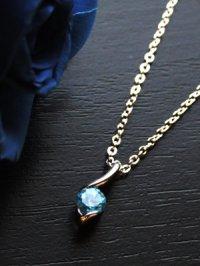 画像1: ブルートパーズの一粒石ネックレス 天然石ジュエリー