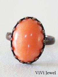 画像2: 珊瑚(コーラル)のリング 天然石ジュエリー